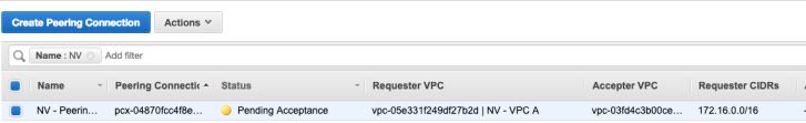 Accept VPC Peering