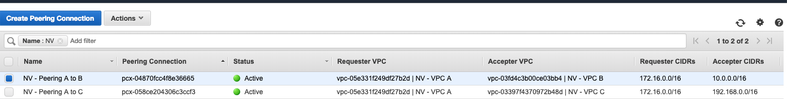 VPC Peering Menu
