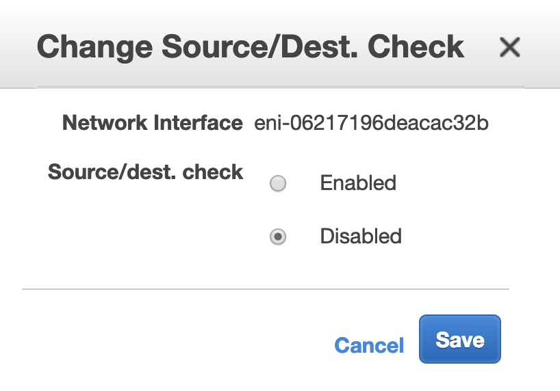 Disable Source/Dest Check