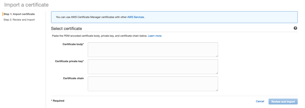 Import certificate and key