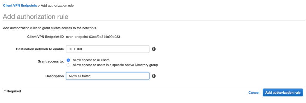 AWS Client VPN Authorization Rule