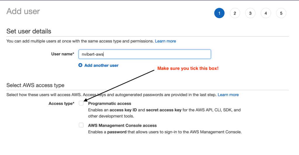 Add IAM user with Programmatic access